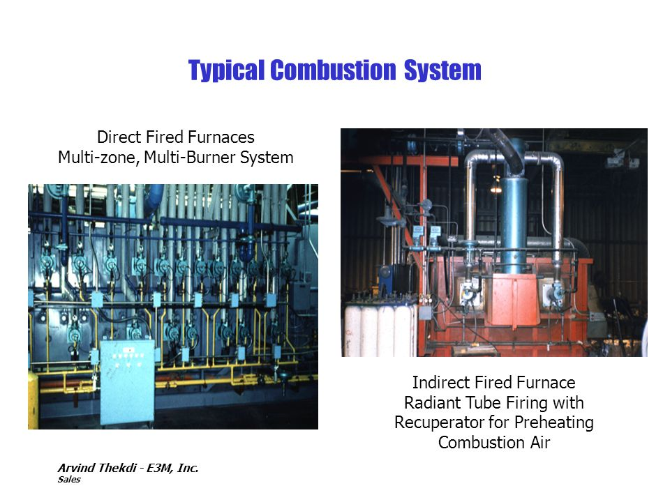 Arvind Thekdi - E3M, Inc. Sales Typical Combustion System Direct Fired Furnaces Multi-zone, Multi-Burner System Indirect Fired Furnace Radiant Tube Fi
