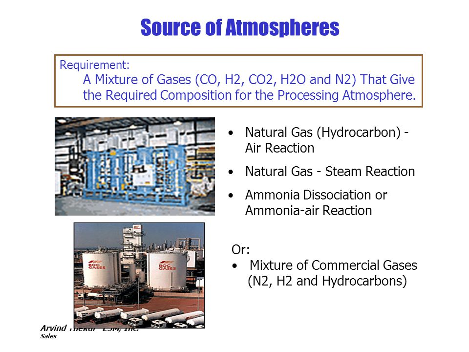 Arvind Thekdi - E3M, Inc. Sales Source of Atmospheres Natural Gas (Hydrocarbon) - Air Reaction Natural Gas - Steam Reaction Ammonia Dissociation or Am