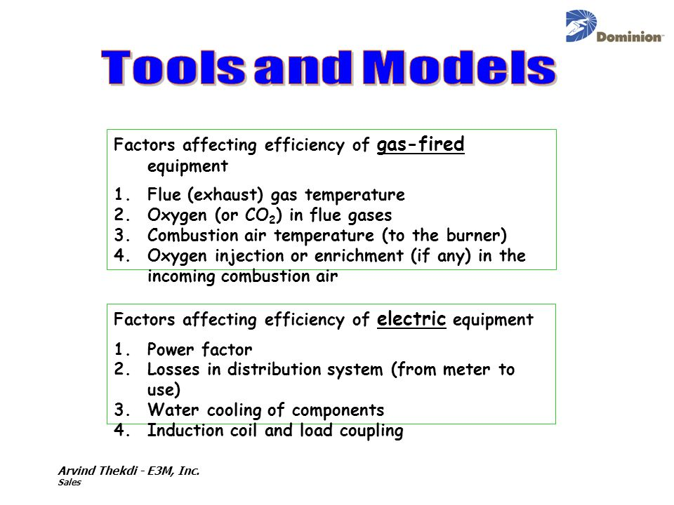 Arvind Thekdi - E3M, Inc. Sales Factors affecting efficiency of gas-fired equipment 1.Flue (exhaust) gas temperature 2.Oxygen (or CO 2 ) in flue gases