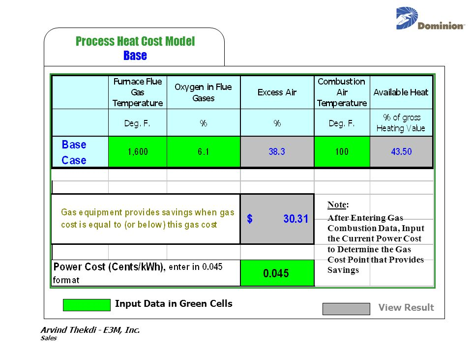 Arvind Thekdi - E3M, Inc. Sales Process Heat Cost Model Base Input Data in Green Cells View Result Note: After Entering Gas Combustion Data, Input the