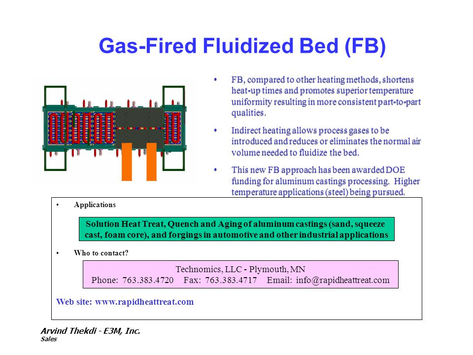 Arvind Thekdi - E3M, Inc. Sales Gas-Fired Fluidized Bed (FB) FB, compared to other heating methods, shortens heat-up times and promotes superior tempe