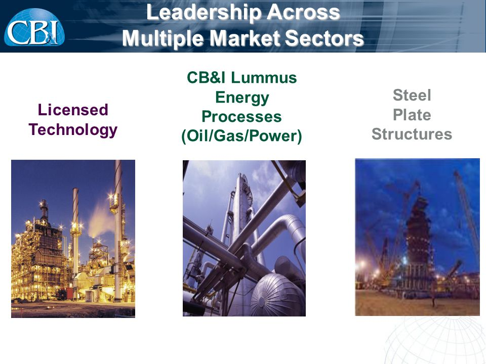 Leadership Across Multiple Market Sectors CB&I Lummus Energy Processes (Oil/Gas/Power) Licensed Technology Steel Plate Structures