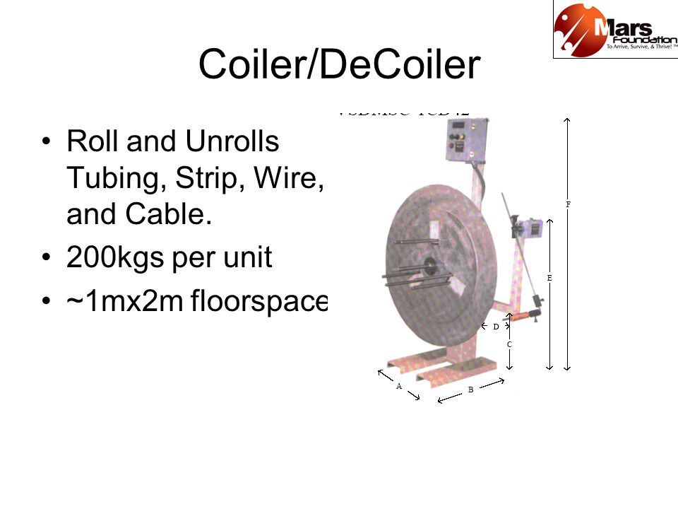 Coiler/DeCoiler Roll and Unrolls Tubing, Strip, Wire, and Cable. 200kgs per unit ~1mx2m floorspace