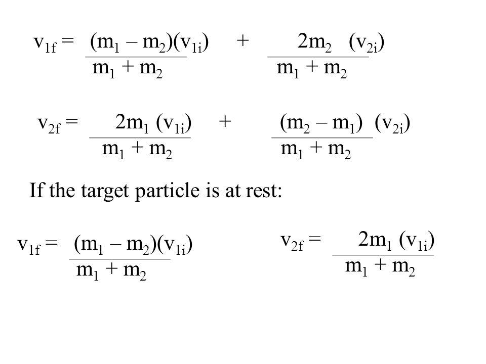 Elastic Collisions: p is always conserved: m 1 v 1i + m 2 v 2i = m 1 v 1f + m 2 v 2f K is also conserved:.5m 1 v 1i 2 +.5m 2 v 2i 2 =.5m 1 v 1f 2 + m 2 v 2f 2 P eq.