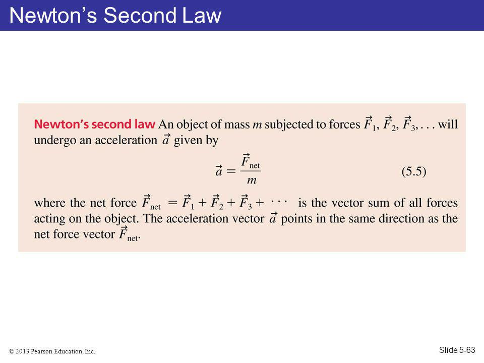 © 2013 Pearson Education, Inc. Newtons Second Law Slide 5-63