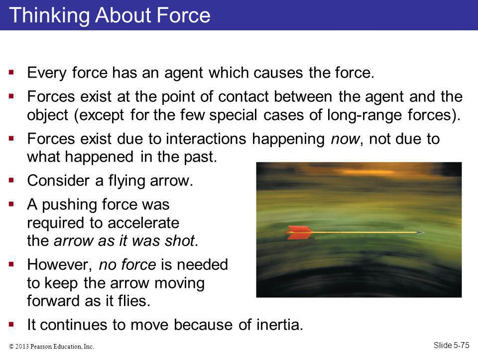 © 2013 Pearson Education, Inc.Every force has an agent which causes the force.