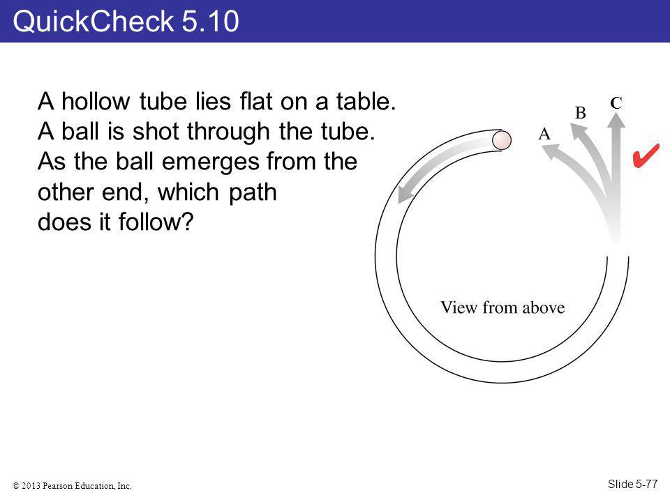 © 2013 Pearson Education, Inc.C A hollow tube lies flat on a table.