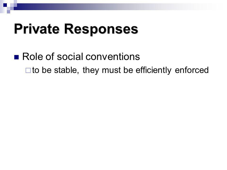 Private Responses Role of social conventions to be stable, they must be efficiently enforced