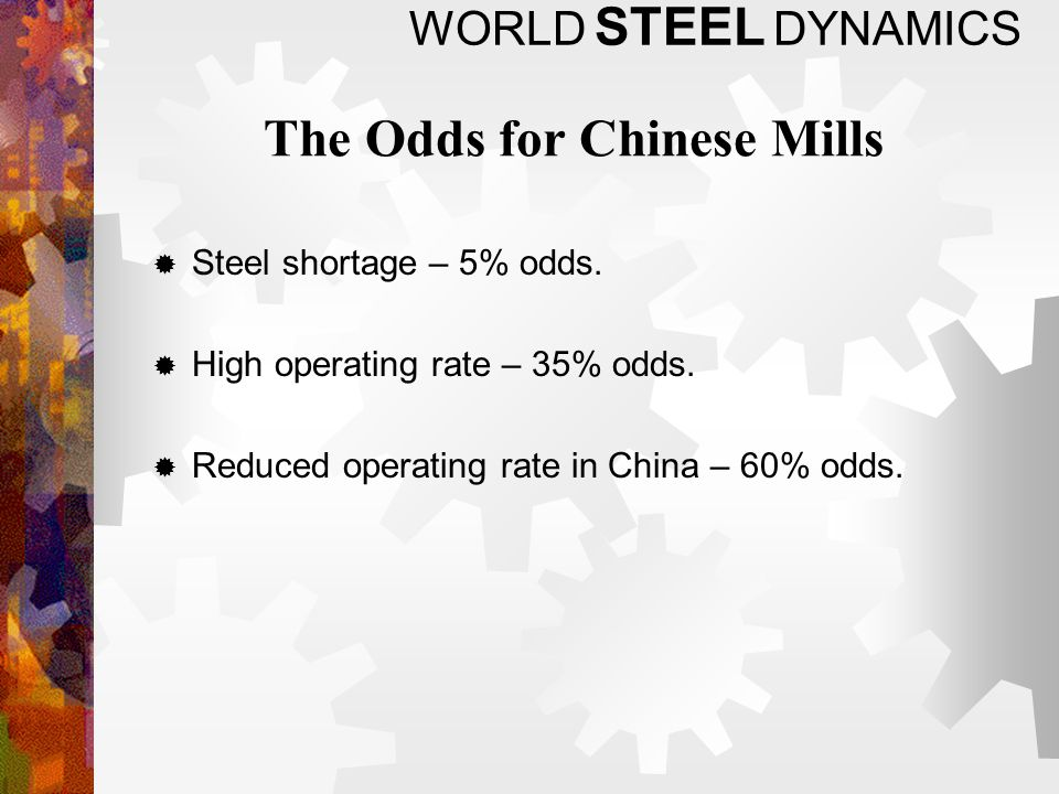 WORLD STEEL DYNAMICS The Odds for Chinese Mills Steel shortage – 5% odds.