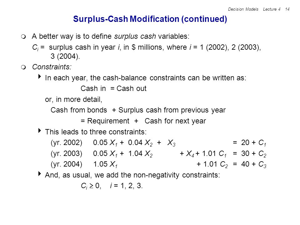 Decision Models Lecture 4 14 Surplus-Cash Modification (continued) A better way is to define surplus cash variables: C i = surplus cash in year i, in $ millions, where i = 1 (2002), 2 (2003), 3 (2004).