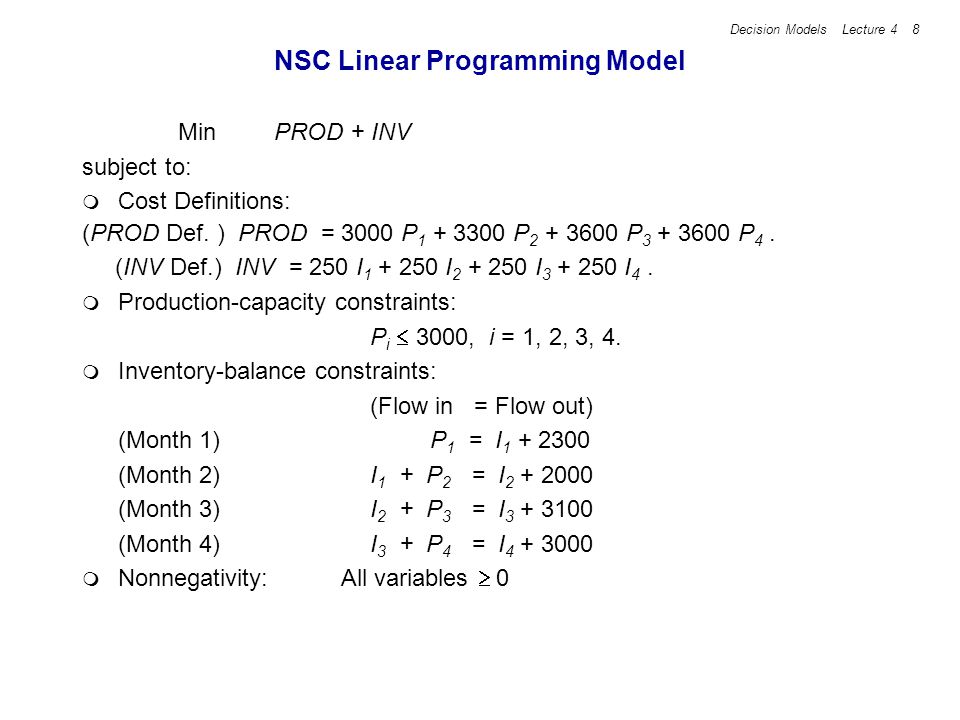 Decision Models Lecture 4 19 SolverTable Parameters In SolverTable, make a Oneway table.