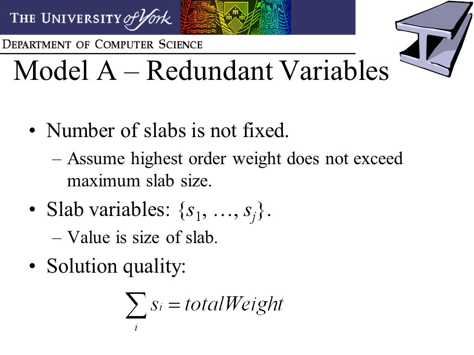 Model A – Redundant Variables Number of slabs is not fixed.