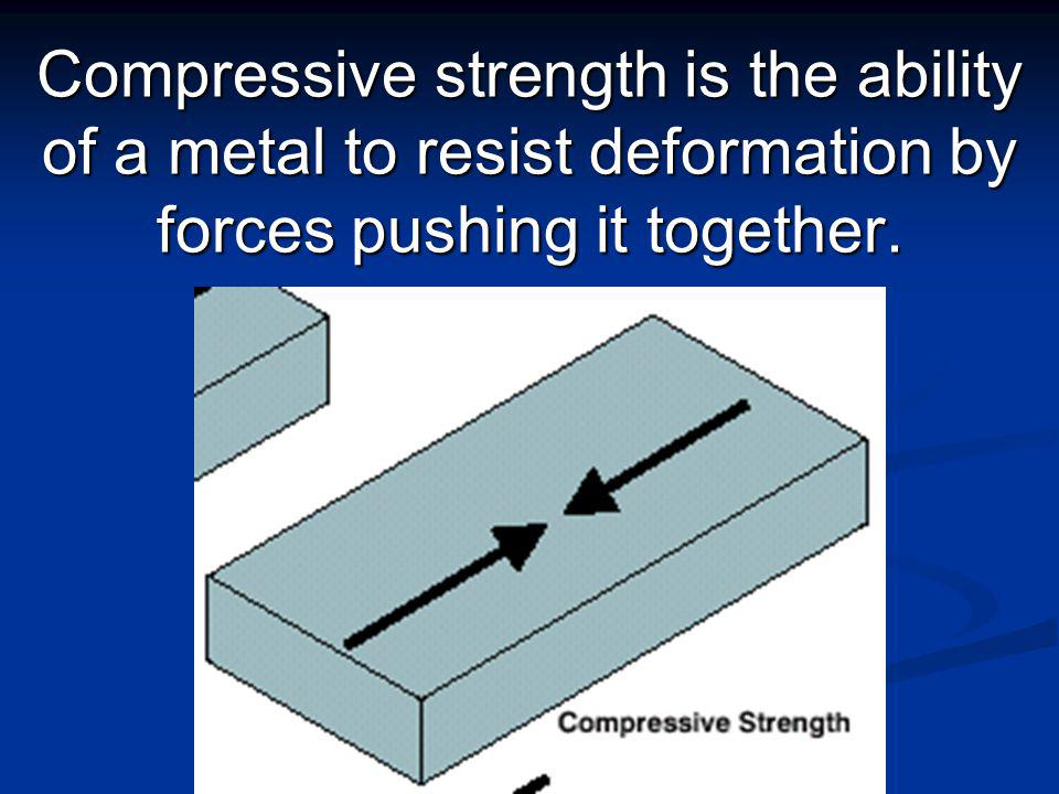 Shear strength is the ability of a metal to resist forces acting in opposite directions.