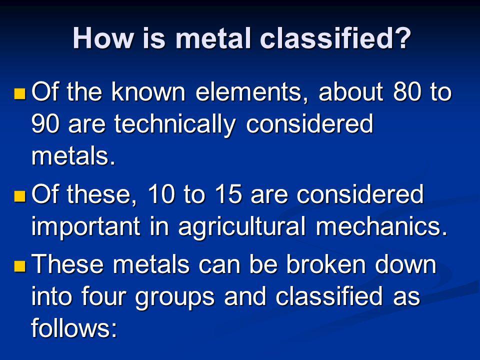 How is metal classified.How is metal classified.