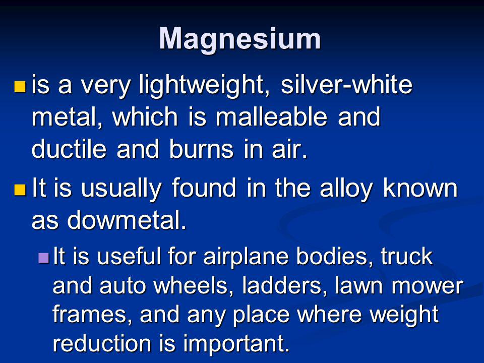 Nickel is a hard, malleable, ductile, tenacious white metal that is somewhat magnetic.
