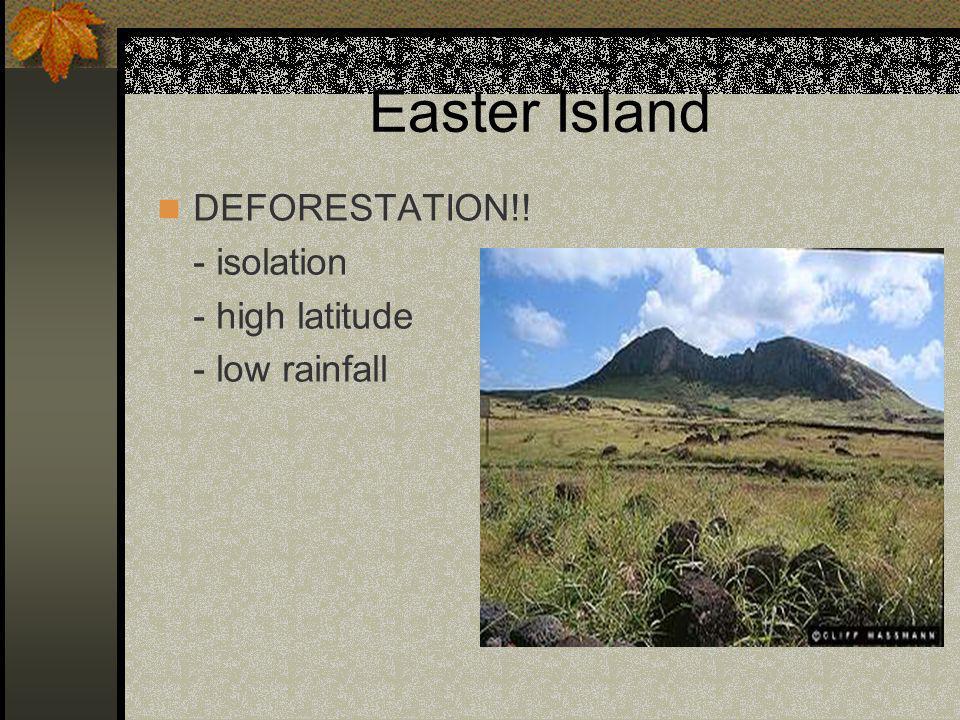 Easter Island DEFORESTATION!! - isolation - high latitude - low rainfall