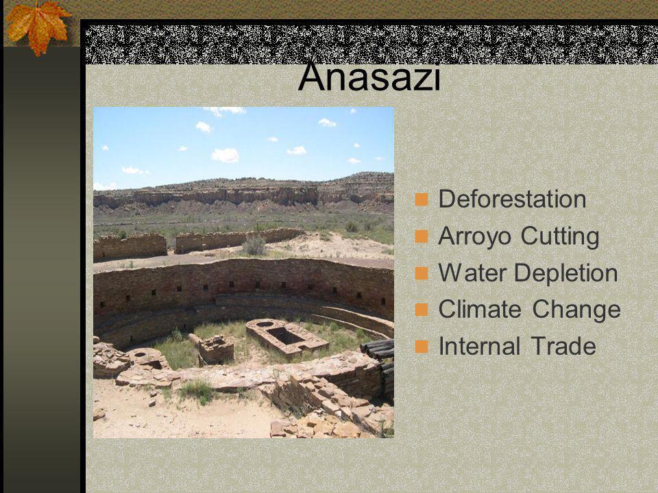 Anasazi Deforestation Arroyo Cutting Water Depletion Climate Change Internal Trade
