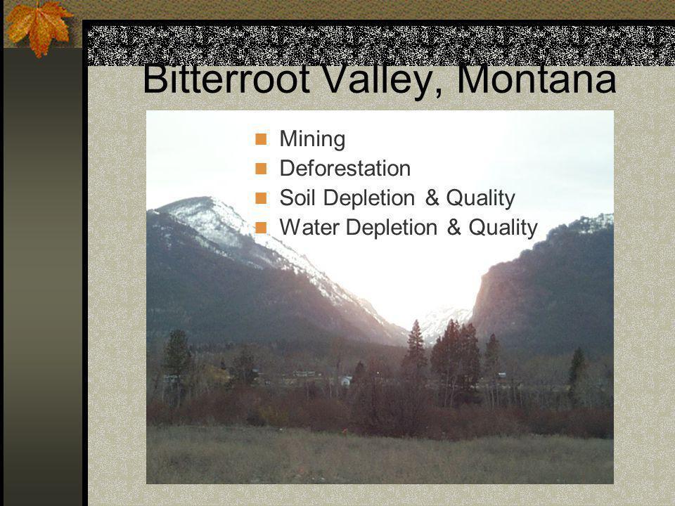 Bitterroot Valley, Montana Mining Deforestation Soil Depletion & Quality Water Depletion & Quality