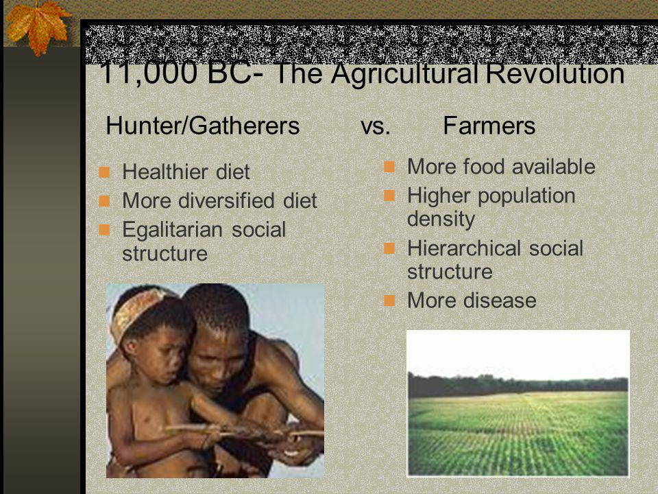 11,000 BC- The Agricultural Revolution Healthier diet More diversified diet Egalitarian social structure More food available Higher population density Hierarchical social structure More disease Hunter/Gatherers vs.