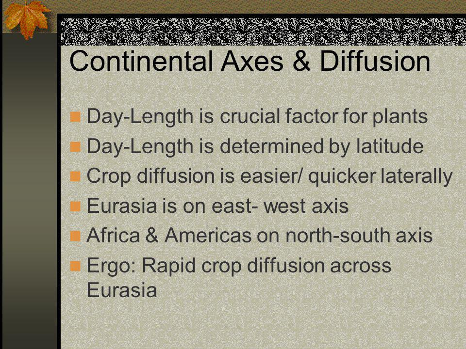 Continental Axes & Diffusion Day-Length is crucial factor for plants Day-Length is determined by latitude Crop diffusion is easier/ quicker laterally Eurasia is on east- west axis Africa & Americas on north-south axis Ergo: Rapid crop diffusion across Eurasia
