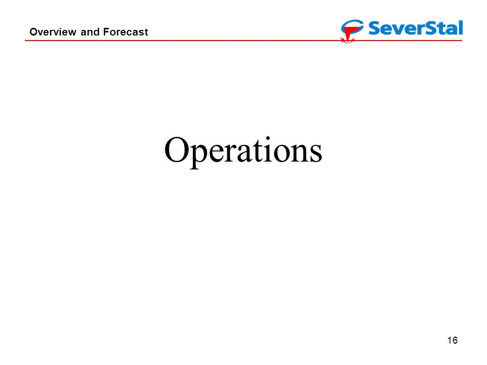 16 Overview and Forecast Operations