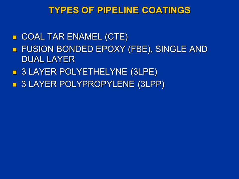 TYPES OF PIPELINE COATINGS COAL TAR ENAMEL (CTE) COAL TAR ENAMEL (CTE) FUSION BONDED EPOXY (FBE), SINGLE AND DUAL LAYER FUSION BONDED EPOXY (FBE), SIN
