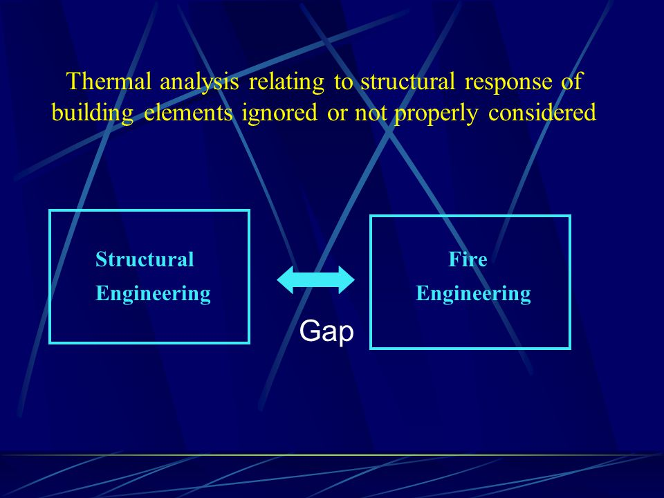 Thermal analysis relating to structural response of building elements ignored or not properly considered Structural Fire Engineering Engineering Gap