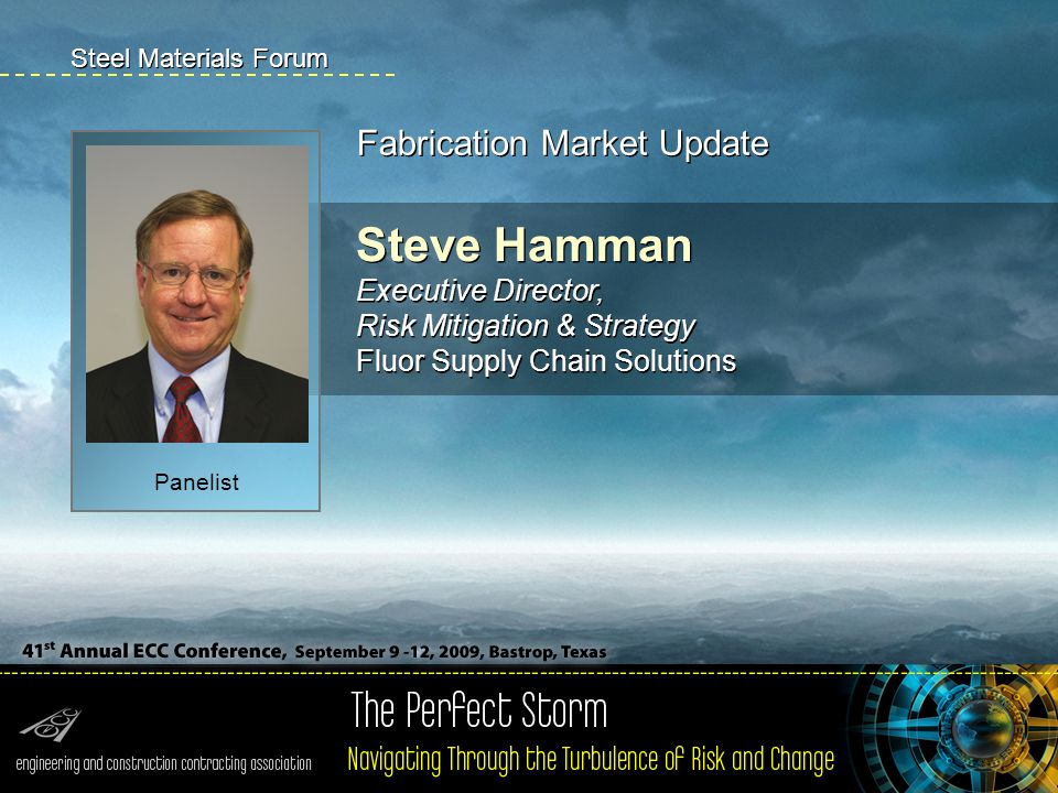 Steve Hamman Executive Director, Risk Mitigation & Strategy Fluor Supply Chain Solutions Fabrication Market Update Steel Materials Forum Panelist