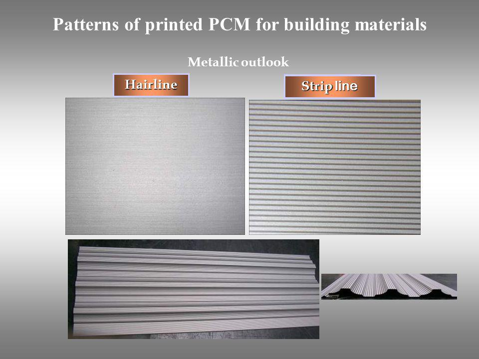Hairline Strip line Metallic outlook Patterns of printed PCM for building materials