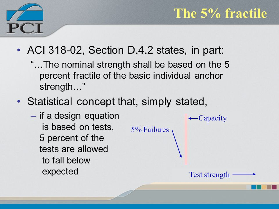 The 5% fractile ACI 318-02, Section D.4.2 states, in part: …The nominal strength shall be based on the 5 percent fractile of the basic individual anch