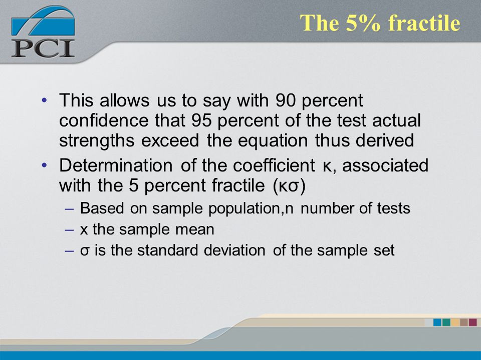 The 5% fractile This allows us to say with 90 percent confidence that 95 percent of the test actual strengths exceed the equation thus derived Determi