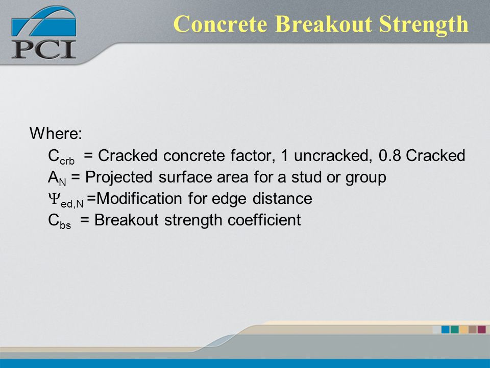 Concrete Breakout Strength Where: C crb = Cracked concrete factor, 1 uncracked, 0.8 Cracked A N = Projected surface area for a stud or group ed,N =Mod