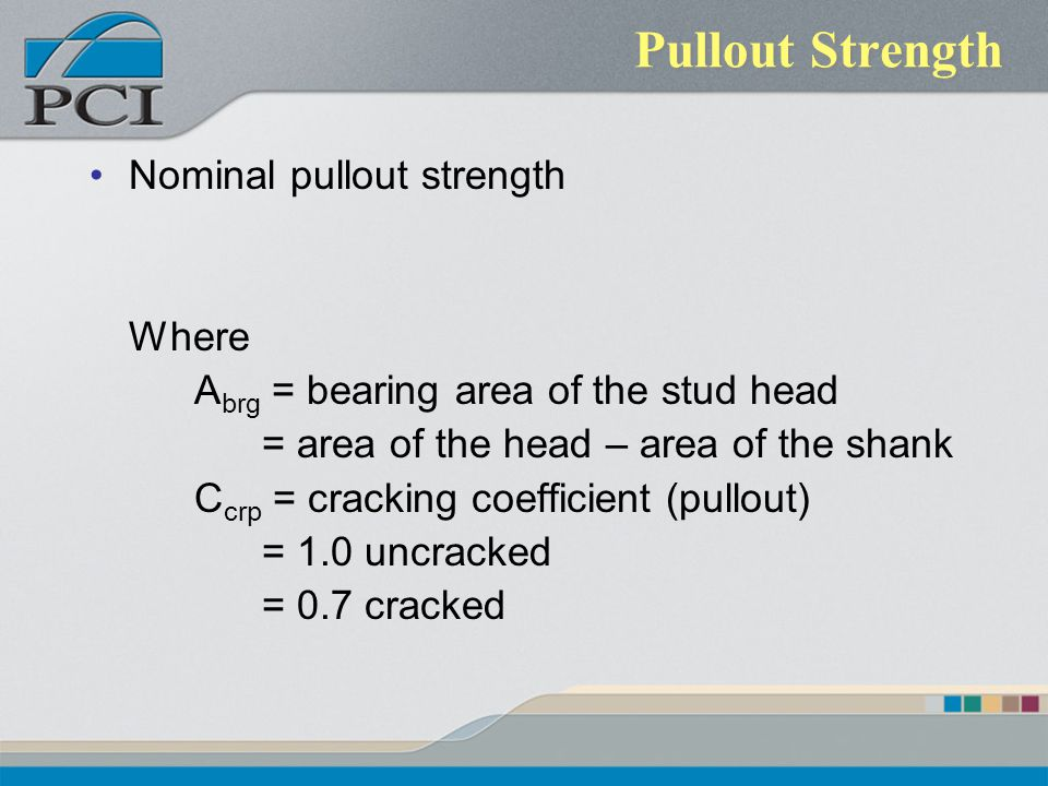 Pullout Strength Nominal pullout strength Where A brg = bearing area of the stud head = area of the head – area of the shank C crp = cracking coeffici