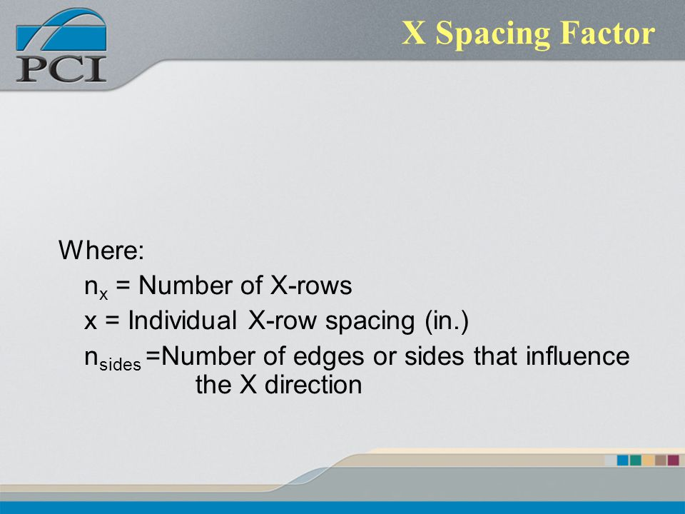 X Spacing Factor Where: n x = Number of X-rows x = Individual X-row spacing (in.) n sides =Number of edges or sides that influence the X direction