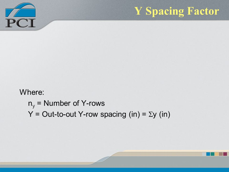 Y Spacing Factor Where: n y = Number of Y-rows Y = Out-to-out Y-row spacing (in) = y (in)