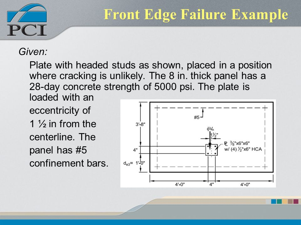 Front Edge Failure Example Given: Plate with headed studs as shown, placed in a position where cracking is unlikely. The 8 in. thick panel has a 28-da