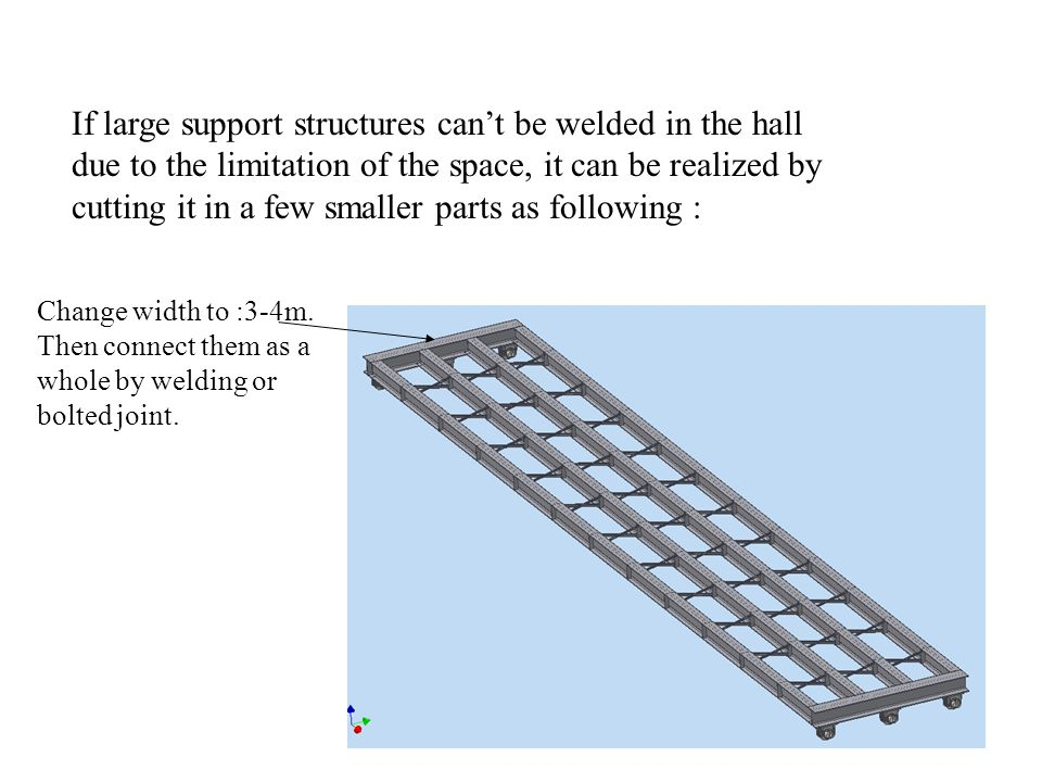 If large support structures cant be welded in the hall due to the limitation of the space, it can be realized by cutting it in a few smaller parts as following : Change width to :3-4m.