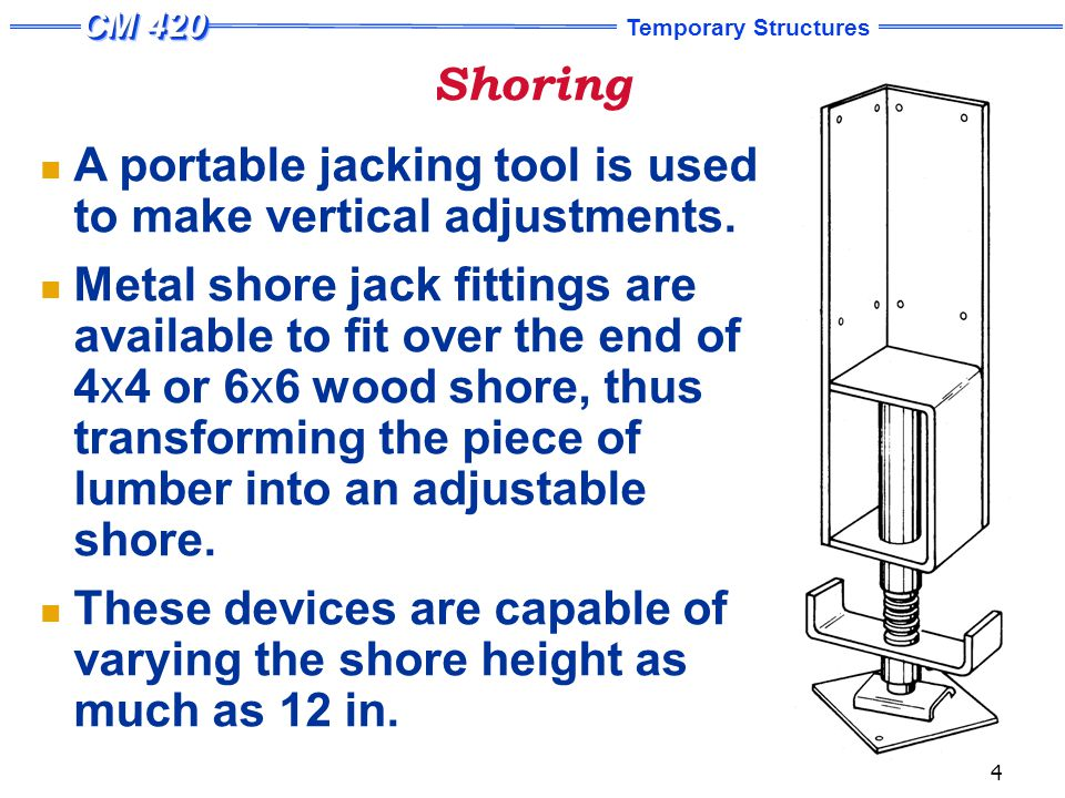 Temporary Structures 5 Shoring A number of patented shoring systems have been developed with adjustable legs which eliminate cutting, close fitting, and wedging.