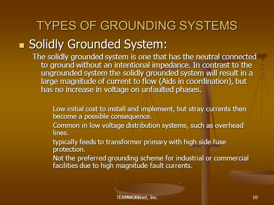 TEAMWORKnet, Inc.10 TYPES OF GROUNDING SYSTEMS Solidly Grounded System: Solidly Grounded System: The solidly grounded system is one that has the neutral connected to ground without an intentional impedance.