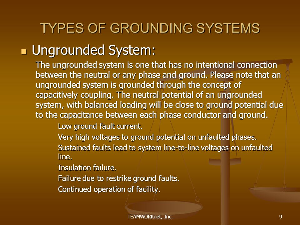 TEAMWORKnet, Inc.9 TYPES OF GROUNDING SYSTEMS Ungrounded System: Ungrounded System: The ungrounded system is one that has no intentional connection between the neutral or any phase and ground.