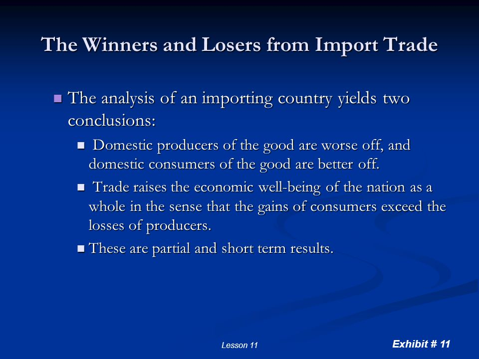 Exhibit # 11 Lesson 11 The Winners and Losers from Import Trade The analysis of an importing country yields two conclusions: The analysis of an import