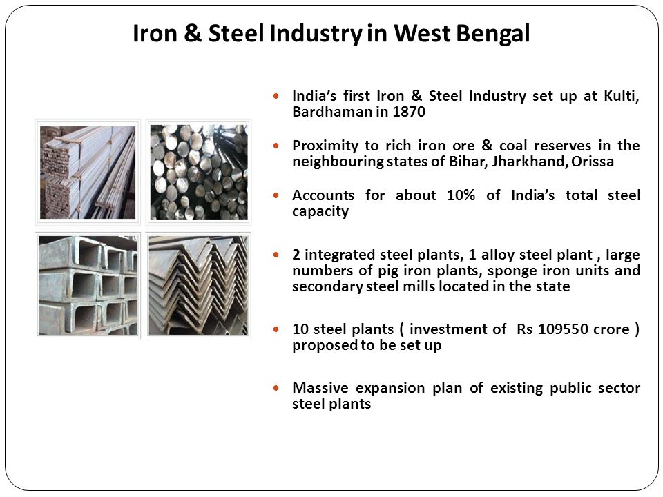 Iron & Steel Industry in West Bengal Indias first Iron & Steel Industry set up at Kulti, Bardhaman in 1870 Proximity to rich iron ore & coal reserves
