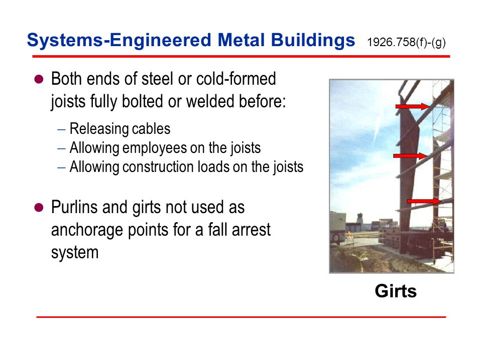 Systems-Engineered Metal Buildings Both ends of steel or cold-formed joists fully bolted or welded before: Releasing cables Allowing employees on the