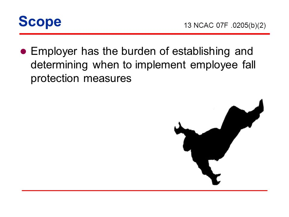 Employer has the burden of establishing and determining when to implement employee fall protection measures 13 NCAC 07F.0205(b)(2) Scope