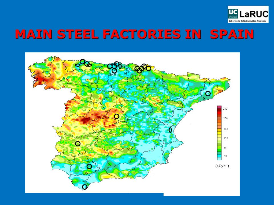 MAIN STEEL FACTORIES IN SPAIN (nGyh -1 ) 240 200 160 120 80 40