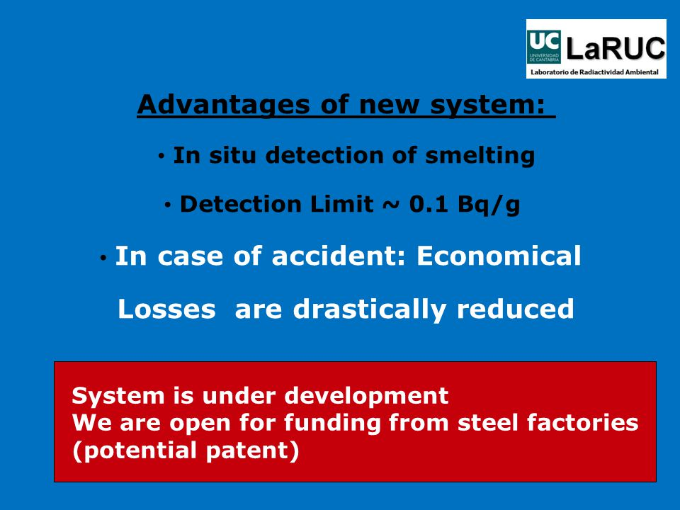 Advantages of new system: In situ detection of smelting Detection Limit ~ 0.1 Bq/g In case of accident: Economical Losses are drastically reduced System is under development We are open for funding from steel factories (potential patent)