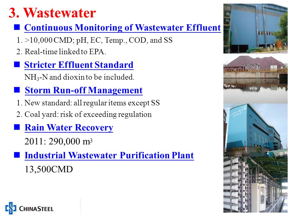 13 Continuous Monitoring of Wastewater Effluent 1.>10,000 CMD; pH, EC, Temp., COD, and SS 2.Real-time linked to EPA.