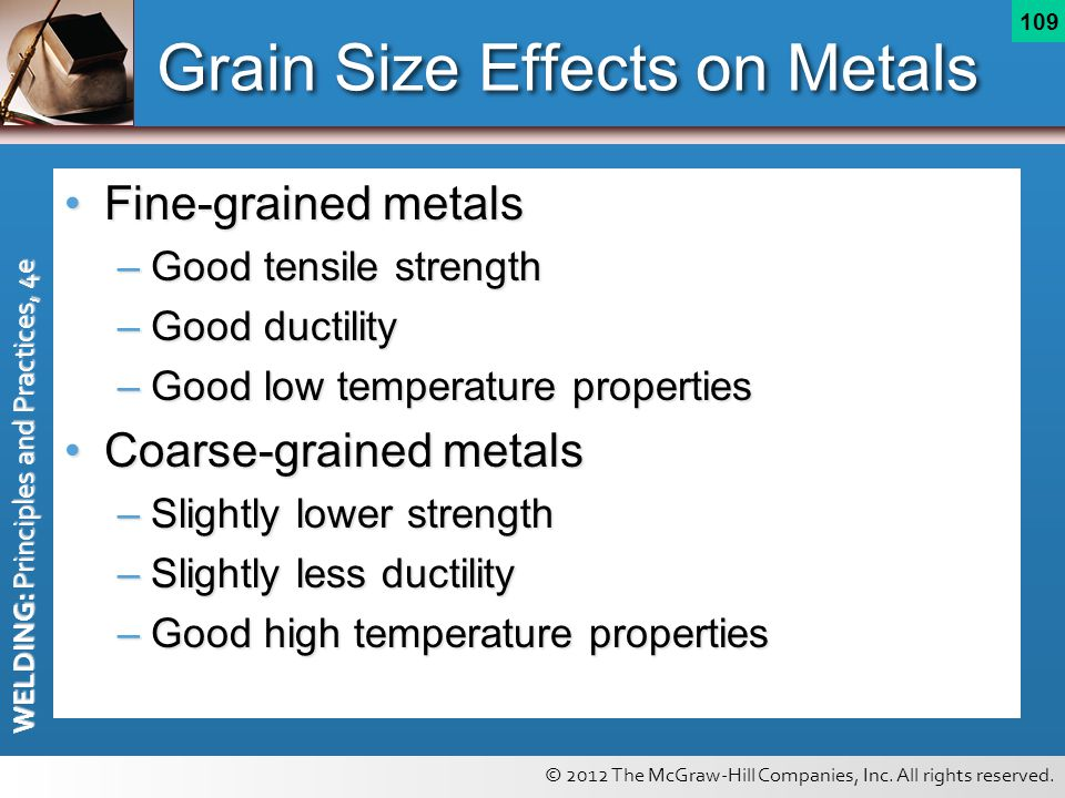 © 2012 The McGraw-Hill Companies, Inc. All rights reserved. WELDING: Principles and Practices, 4e 109 Grain Size Effects on Metals Fine-grained metals