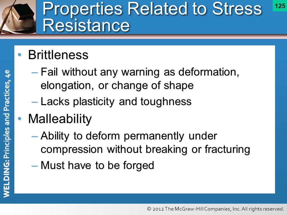 © 2012 The McGraw-Hill Companies, Inc. All rights reserved. WELDING: Principles and Practices, 4e 125 Properties Related to Stress Resistance Brittlen