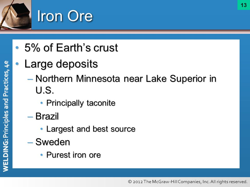 © 2012 The McGraw-Hill Companies, Inc. All rights reserved. WELDING: Principles and Practices, 4e 13 Iron Ore 5% of Earths crust5% of Earths crust Lar